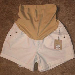 NWT White Jean Maternity Shorts